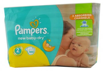 PAMPERS ACTIVE BABY-DRY, 2 (3-6 KG) GIANT PACK  (100 SZT)