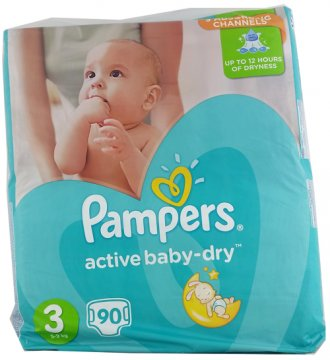 PAMPERS ACTIVE BABY-DRY, 3 (4-9 KG) GIANT PACK (90 PCS)