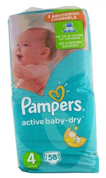 PAMPERS ACTIVE BABY-DRY, 4 (7-18 KG) GIANT PACK (76 SZT)