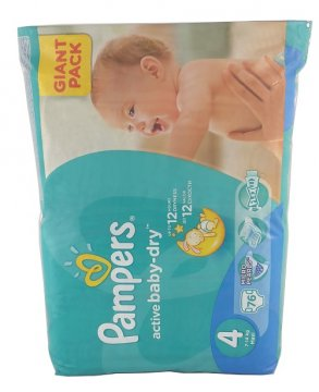 PAMPERS ACTIVE BABY-DRY, 4 (7-18 KG) GIANT PACK (76 PCS)