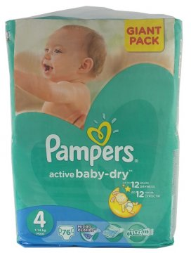 PAMPERS ACTIVE BABY DRY, 4+ (9-20 KG) GIANT PACK (70 SZT)