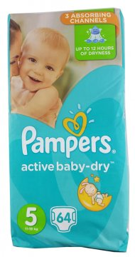 PAMPERS ACTIVE BABY-DRY, 5 (10-26 KG) GIANT PACK (64 SZT)