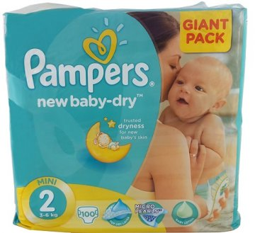 PAMPERS ACTIVE BABY-DRY РАЗМЕР 2 GIANT PACK  (100 ШТ)