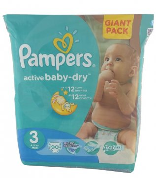PAMPERS ACTIVE BABY-DRY РАЗМЕР 3 GIANT PACK (90 ШТ)