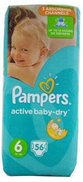 PAMPERS ACTIVE BABY-DRY, EXTRA LARGE 6 (15+ KG) GIANT PACK (56 SZT)
